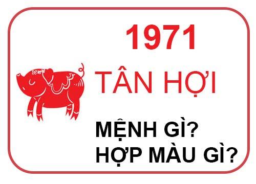 sinh năm 1971 mệnh gì?